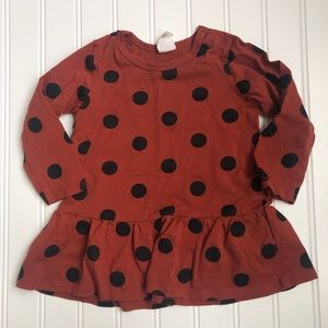 H&M | Rust Red Polka For Ruffle Dress
